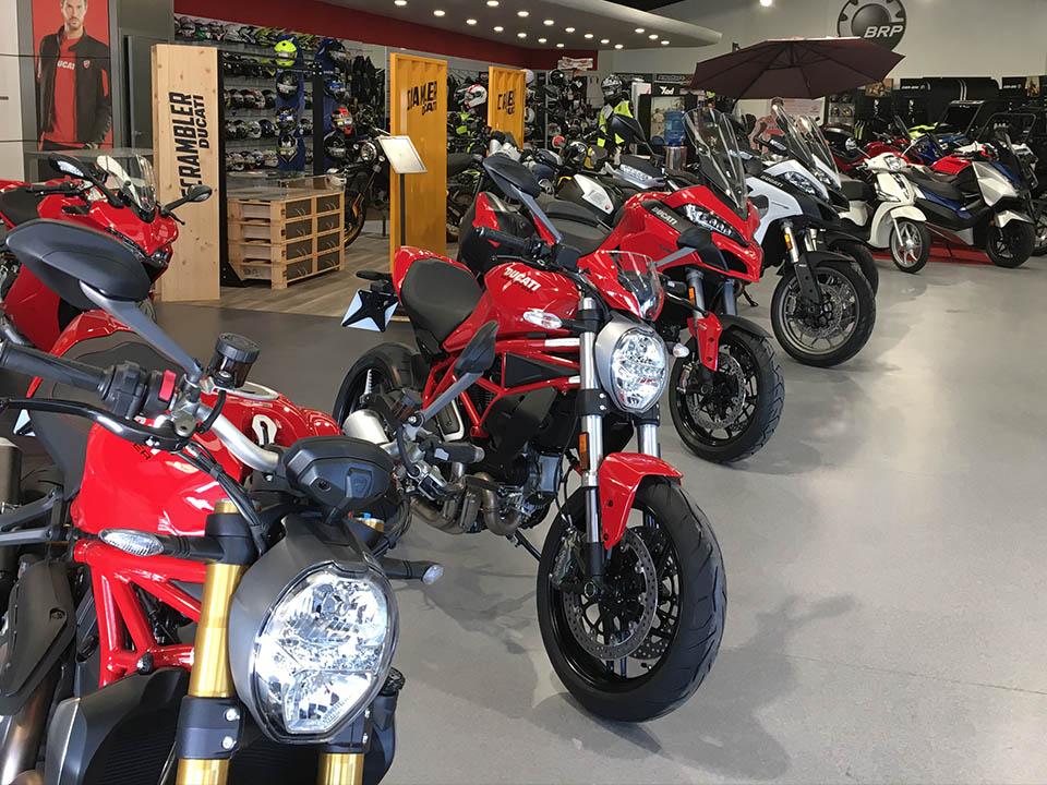 Ducati Monster y Multistrada en interior concesionario Motoviedo